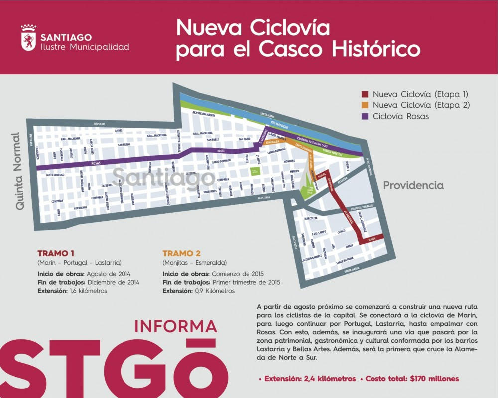 Trazado Nueva Ciclovía Patrimonial en Santiago. Cortesía Municipalidad de Santiago.
