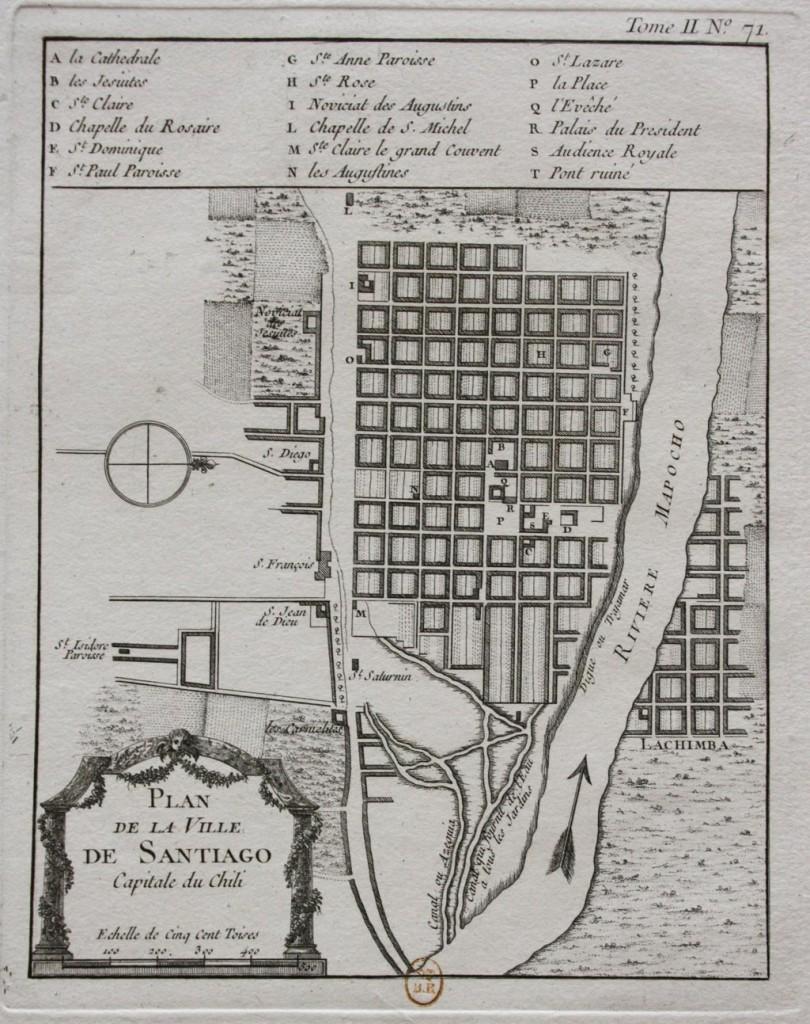 Plan de la Villa de Santiago, capital de Chile Jacques