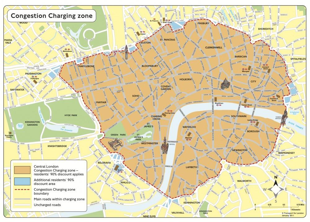Mapa de Tarificación Vial en Londres. Fuente: Transport for London.