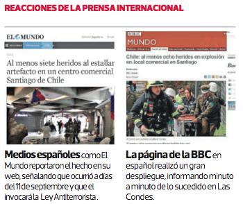 reacciones prensa internacional atentado Metro de Santiago