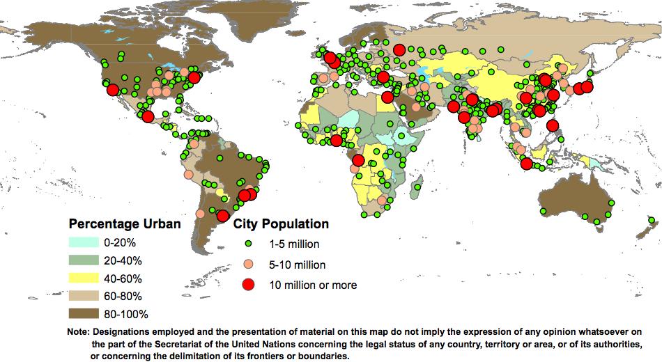 Porcentaje urbana y aglomeraciones urbanas por clase de tamaño. Fuente: Informe ONU 2014