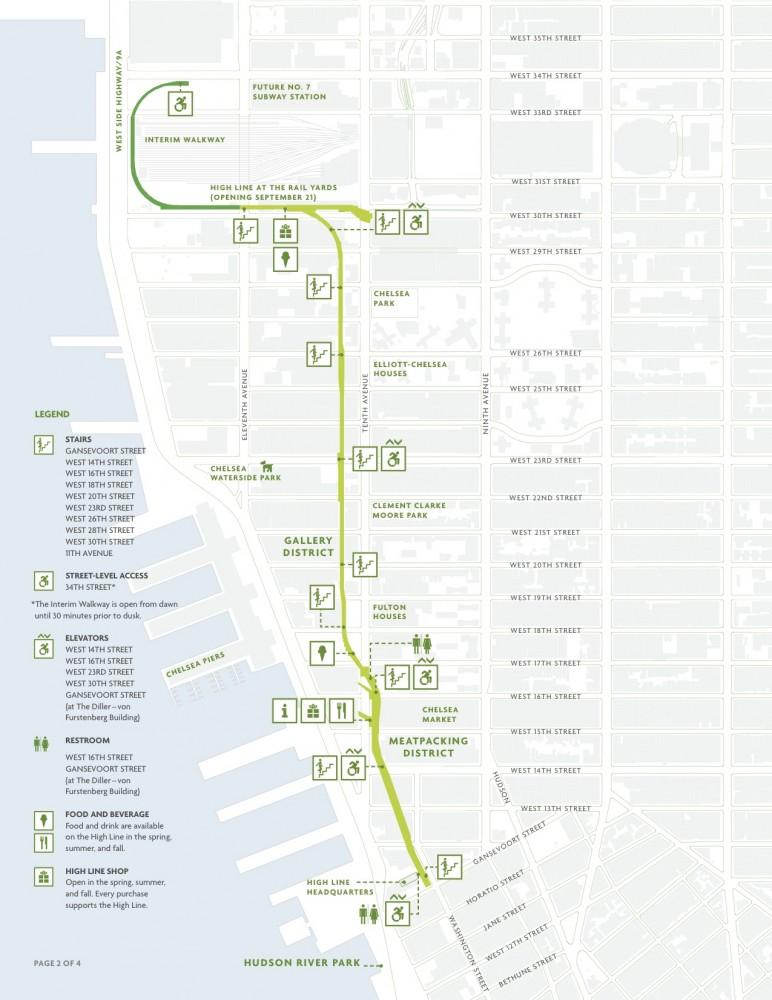 Mapa High Line Fuente Amigos del High Line