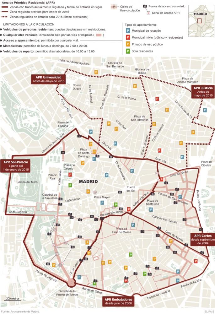 Áreas de Prioridad Residencial en Madrid. Fuente El País.