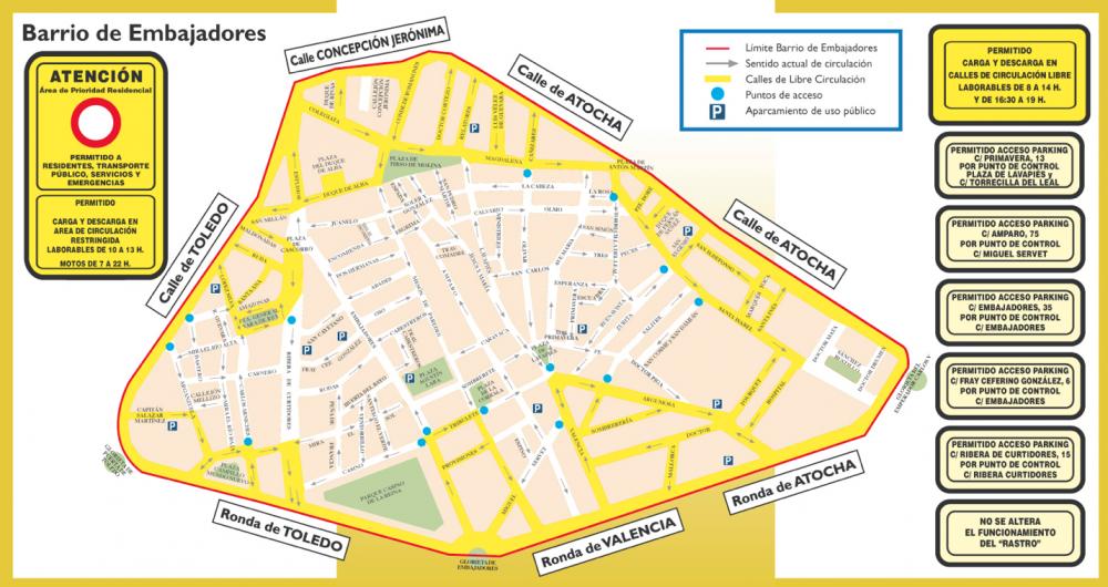 Áreas de Prioridad Residencial en Barrio de Embajadores. Fuente: Ayuntamiento de Madrid.