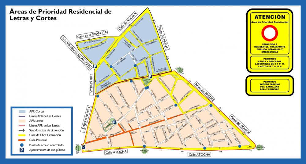 Áreas de Prioridad Residencial de Barrios Letras y Cortes. Fuente: Ayuntamiento de Madrid