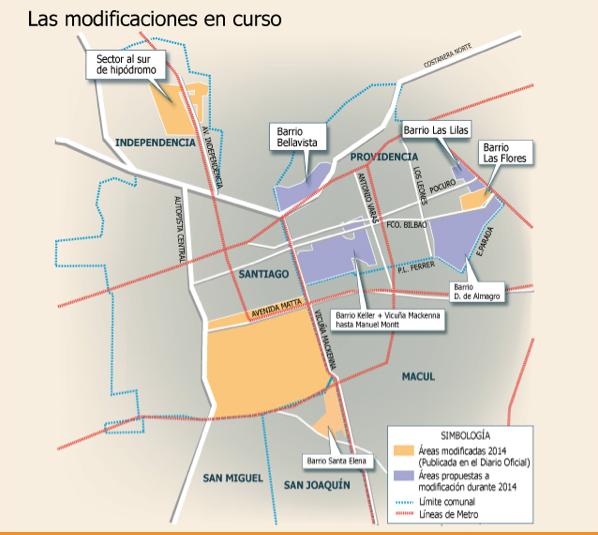 Cambios a planos reguladores Gran Santiago