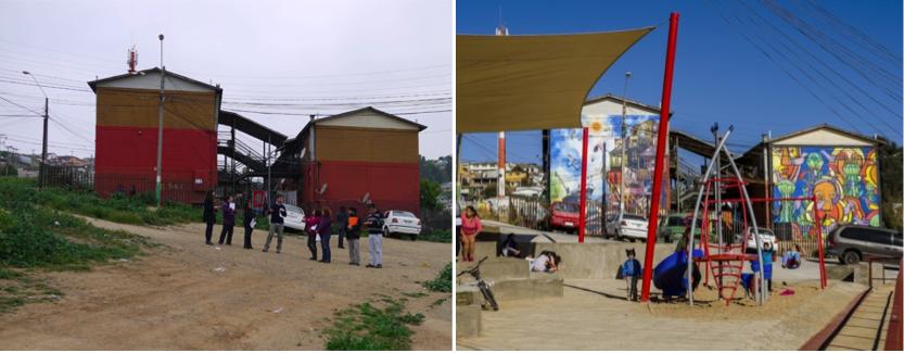"""Antes y después """"Plaza del Encuentro"""". Población Ramón Cordero de Playa Ancha, Valparaíso Año 2012 y 2014"""