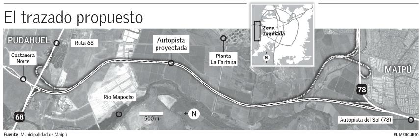Conexión rutas 68 y 78 propuesta Maipú