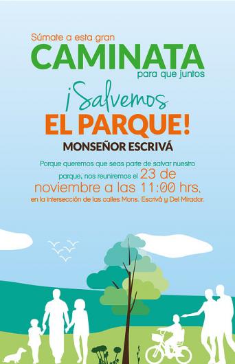 Afiche Caminata Salvemos el Parque 23 noviembre