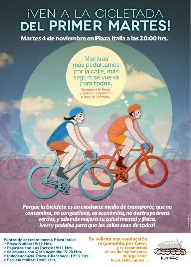 Afiche Cicletada Primer Martes Noviembre 2014