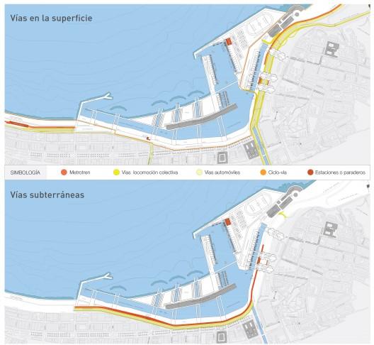 Vías de circulación propuestas en anteproyecto Parque de Mar Puerto Barón. Image Cortesia de Boris Ivelic, Edison Segura y Pablo Vásquez