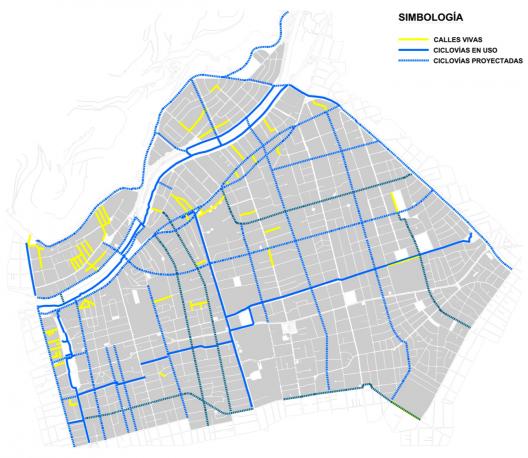 Plan de Movilidad Sustentable de Providencia. Calles vivas, ciclovías en uso y proyectadas. Cortesía Municipalidad de Providencia.