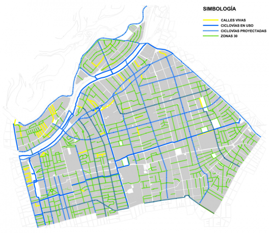 Plan de Movilidad Sustentable de Providencia. Calles vivas, ciclovías en uso y proyectadas y Zonas 30. cortesía Municipalidad de Providencia.
