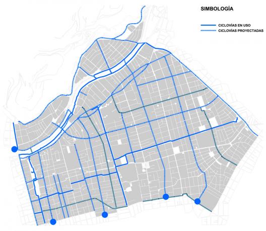 Plan de Movilidad Sustentable de Providencia. Ciclovías en uso, proyectadas y en estudio y/o construcción. Cortesía Municipalidad de Providencia.