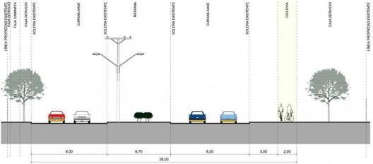 Perfil Transversal Calle Curanilahue, Hualpén. Cortesía de Arquitectos de Concepción.
