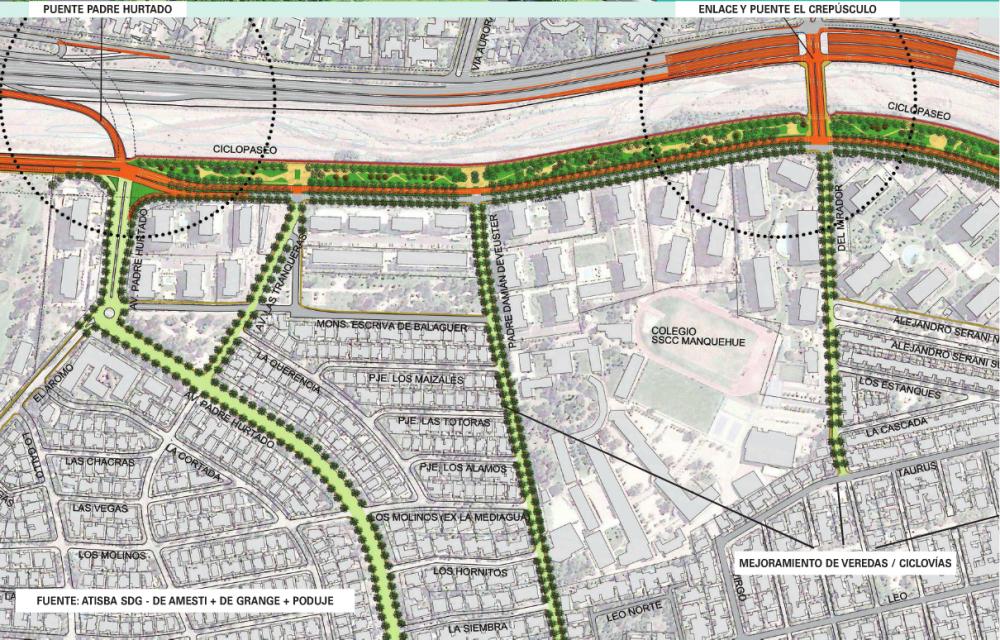 Los proyectos del Plan Maestro de Vitacura. Infografía de la Municipalidad de Vitacura publicada en El Mercurio.