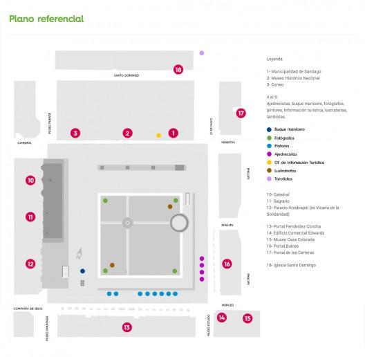 Plano Referencial Mejoramiento Plaza de Armas de Santiago. © Municipalidad de Santiago