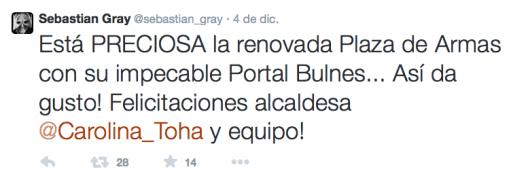 sebastian gray tweet plaza de armas de santiago remodelacion