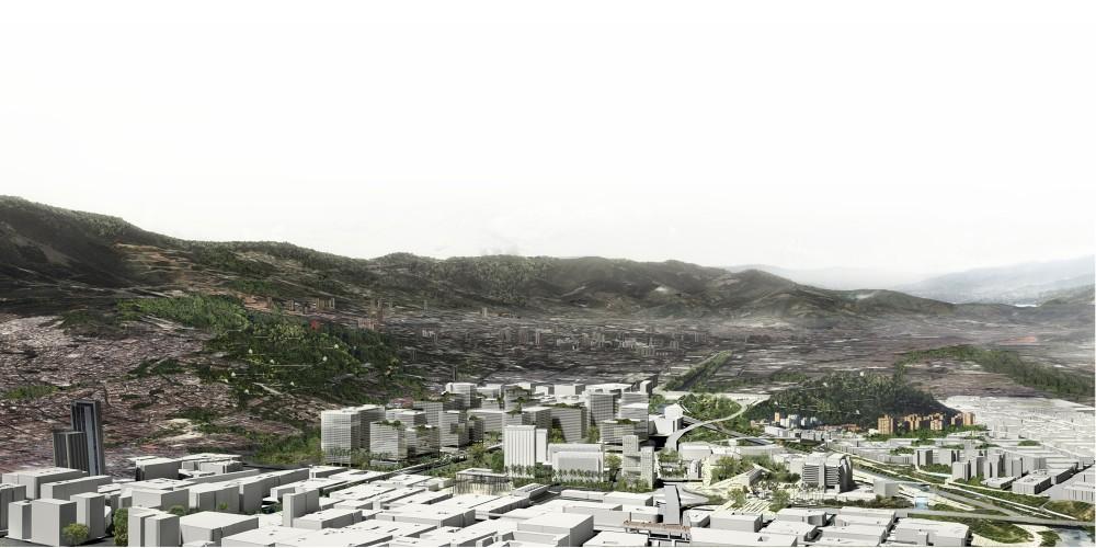 Conexión entre cerros. Image Cortesia de Equipo Primer Lugar