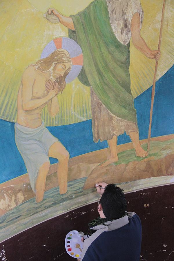 Restauración de murales de la Iglesia Sagrado Corazón de Jesús Providencia. © Fundación Patrimonio Cultural