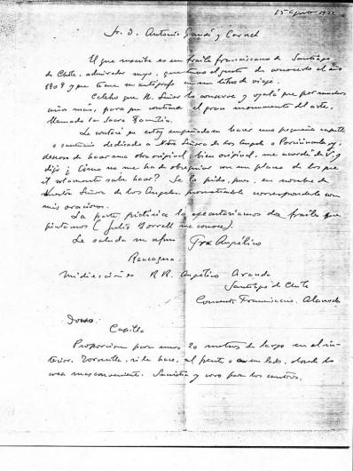 Carta de Aranda a Gaudí (1922). Image © Corporación Gaudí de Triana