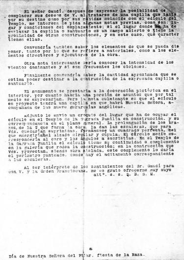 Carta de Gaudí a Aranda, segunda plana (1922). Image © Corporación Gaudí de Triana