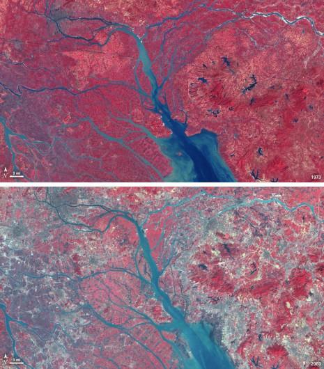 Crecimiento urbano del delta del Río Pearl entre 1973 y 2003 Imagen © Flicker CC user NASA Goddard Space Flight Center
