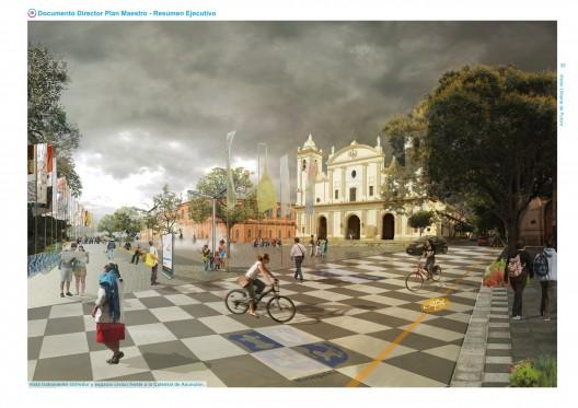 Vista tratamiento corredor y espacio cívico frente a la Catedral de Asunción. Image Cortesia de Plan CHA
