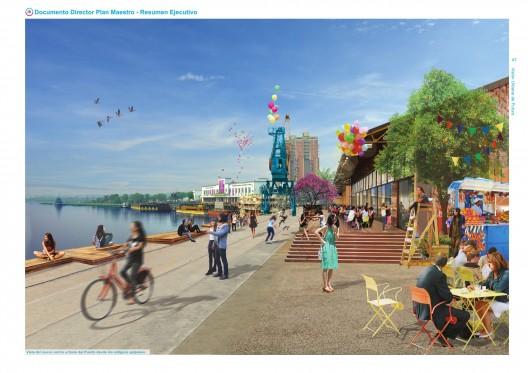 Vista del nuevo centro urbano del Puerto desde los antiguos galpones. Image Cortesia de Plan CHA