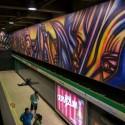 Mural Vida y Trabajo Metro Parque Bustamante Alejandro Mono Gonzalez Andrea Manuschevich para Plataforma Urbana 5