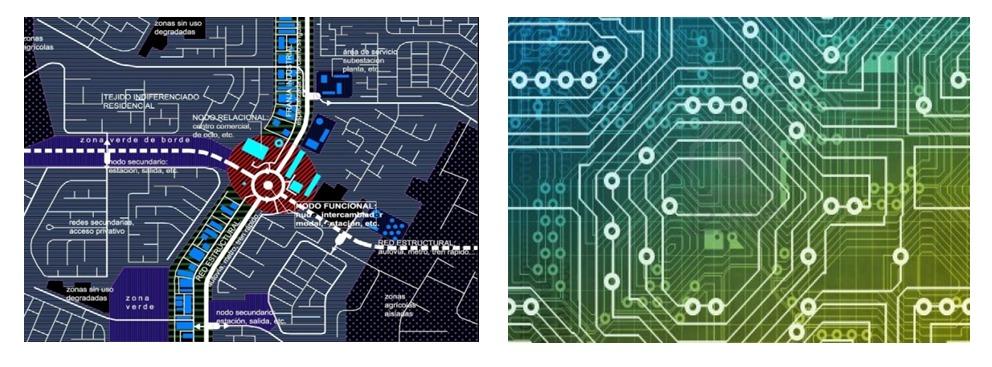 Esquema de estructura de redes y nodos característico de una ciudad contemporánea (izquierda) y esquema de un circuito integrado (derecha); el segundo se asemeja a los sistemas de comunicaciones de transportes que definen la imagen de las ciudades actuales. Imagen Cortesía de Miguel Gómez Villarino
