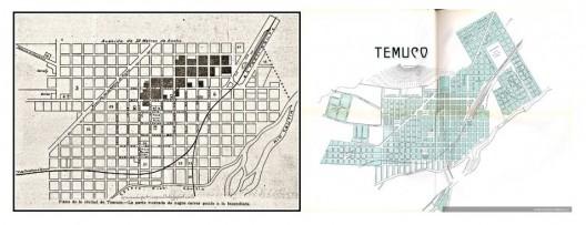 Plano del centro histórico de Temuco, con la Estación de Ferrocarril.. Image Cortesia de Miguel Gómez Villarino