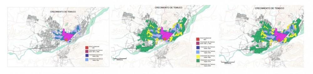 Estudio detallado del crecimiento urbano: 1943, 1975 y 1992. Image © Vía Dirección de Planificación, Municipalidad de Temuco