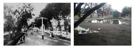 Paseo de Balmaceda histórico (izquierda) y en la actualidad (derecha): degradación del espacio público.. Imagen Cortesía de Miguel Gómez Villarino
