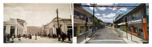 Calle Bulnes antiguamente (izquierda) y en la actualidad (derecha): desmaterialización de las fachadas. Imagen Cortesía de Miguel Gómez Villarino