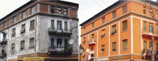 El antes y el después del primer edificio pintado en Tirana