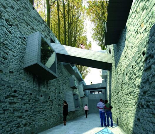 El quiebre, muros creados con escombros del edificio Alto Rio. Cortesía Fundación Alto Rio.
