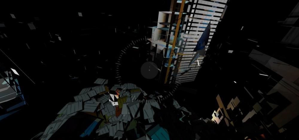 """La instalación de arte online de Liam Young """"City of Drones"""" intenta mostrar cómo se vería la ciudad a través de los ojos de un drone. Imagen vía captura de pantalla desde cityofdrones.io"""