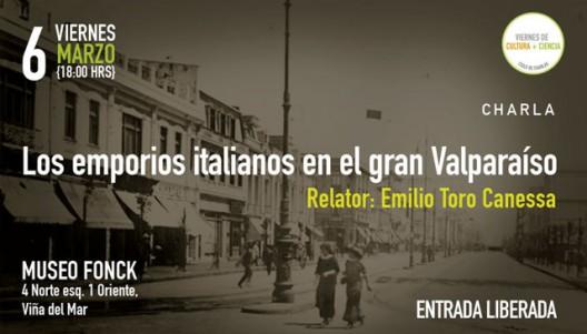 afiche charla los emporios italianos en el gran valparaiso 6 marzo