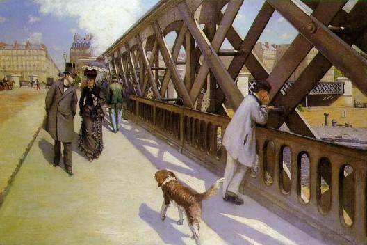 'Le Pont de l'Europe' - una representación ligeramente más matizada, con un flâneur caminando un poco separado de una mujer que se interpreta como una prostituta. El flâneur está mirando a el hombre de clase obrera a la derecha. Imagen © Gustave Caillebotte