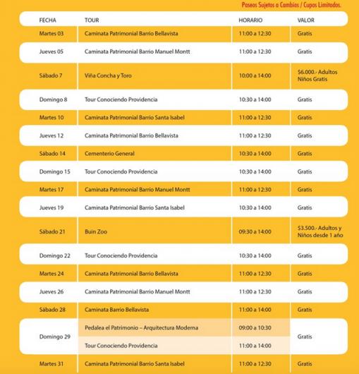 calendario recorridos patrimoniales providencia marzo 2015
