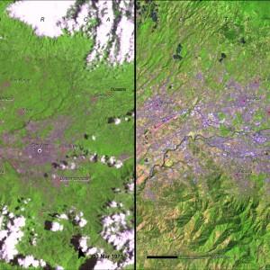 Fuente: Imágenes del Cambio, Nasa. ( Programa de las Naciones Unidas para el Medio Ambiente (PNUMA) . Crédito: PNUMA y CATHALAC 2010.