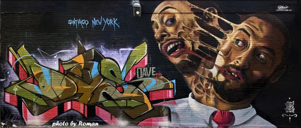 Mural de Dasic y Sen2 en Brooklyn, Nueva York.