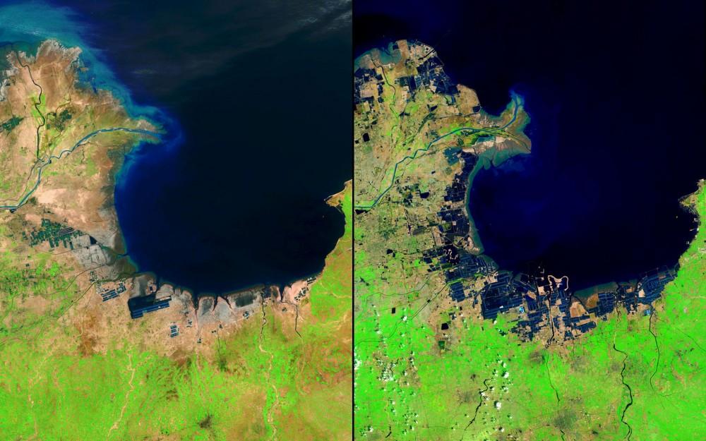 """Fuente: Imágenes del Cambio, Nasa. (US Geological Survey (USGS) Misiones Landsat Galería """"Huang He Delta y Lauzhou Bay,"""" Ministerio del Interior / USGS y la NASA estadounidense.)"""