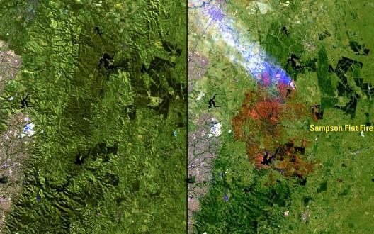 """Fuente: Imágenes del Cambio, Nasa. ( US Geological Survey (USGS) Misiones Landsat Galería  """"Sampson plana Fuego, Australia"""", Ministerio del Interior / USGS y la NASA estadounidense)."""