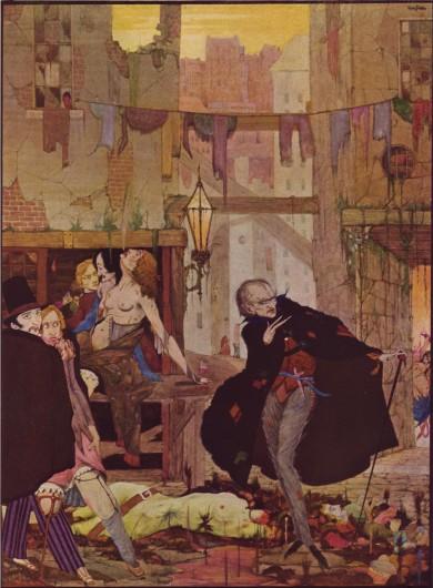 """Representación ligeramente negativa del flâneur de 1923, ilustra el cuento de Poe """"El hombre de la multitud"""". Imagen © Harry Clarke"""