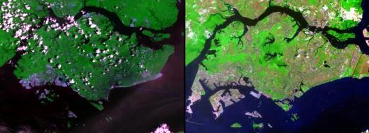"""Fuente: Imágenes del Cambio, Nasa (Earthshots: Imágenes de satélite del Cambio Ambiental , """"Singapur"""" US Geological Survey.)"""