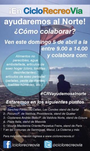 afiche ciclorecreovia ayuda al norte 5 abril 2015