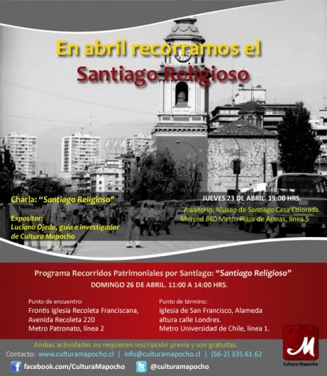 afiche recorrido santiago religioso abril 2015