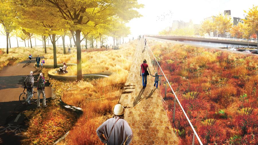 """Render para BIG U, """"La Berma de Bridging"""" protección vertical robusta para el Lower East Side. Imagen Cortesía of rebuildbydesign.org, vía Plataforma Arquitectura."""